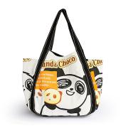 Blancho Bedding ABH-04041 Panda Choco Eco Canvas Shoulder Tote Bag / Shopper Bag / Multiple Pockets