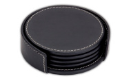 Dacasso A1245 Rustic Leather 4 Round Coaster Set with Holder