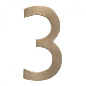Architectural Mailboxes 3582AB Number 3 Solid Cast Brass 4 inch Floating House Number Antique Brass 3