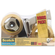 3M 37502ST Packaging Tape Dispenser with 2 Rolls of Tape 1.88 x 54.6 yards