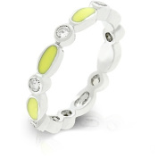 J Goodin R07881R-V61-05 White Gold Rhodium Bonded Link Style Stacker Ring with Yellow Enamel Finish and Bezel Set Round Clear CZ in Silvertone