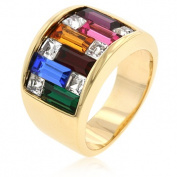 J Goodin R05339G-V02-09 Dark Multi-Color Alternated Princess and Bagat Shaped. Crystal Gold Plated Ring