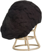 Nirvanna Designs CH208 Black Cable Beret with Fleece Band Lining