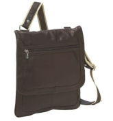 Piel Leather 2817-CHC Small Vertical Messenger - Chocolate