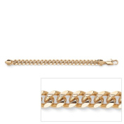 PalmBeach Jewelry 50207 Mens 14k Yellow Gold-Plated Curb-Link Chain Bracelet 10