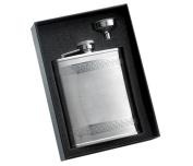 Aeropen International GF-1306 2 Pcs. Set - 180ml Shiny Goth Border Shiny Stainless Steel Flask and Funnel