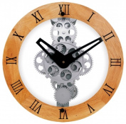 Maples Clock GCL06-333W Wooden Moving Gear Wall Clock With Wooden Dial Ring - 12 Inch