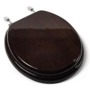 Jones Stephen C1B1R-18CH Designer Solid Round Wood Toilet Seat with PVD Chrome Hinges- Dark Brown