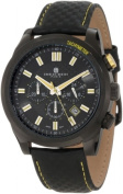 Charles-Hubert Paris 3946-BY Black-Plated Stainless Steel Case Black Dial Chronograph Watch