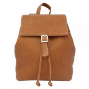 Piel Leather 2400 Top Flap Drawstring Backpack- Saddle