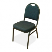 Lorell LLR62514 Stack Chairs- 18in.x22in.x35-.50in.- 4-CT- BBY-BK Fabric- CCL Frame