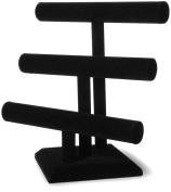 Darice 199184 Triple Bar Jewellery Stand 30cm . x 30cm . 1-Pkg-Black Velvet