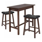 Winsome Trading 94304 3pc Kitchen Island Table with 2 Cushion Saddle Seat Stools