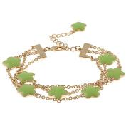 Zirconmania 610B-2568LG-G Goldtone Green Enamel Three Strand Bracelet