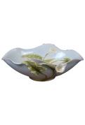 Unicorn Studios AP20244AA Porcelain Pale Blue Oval Bowl - Calla Lily Motif