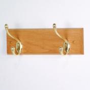 Wooden Mallet HCR-2BLO Double Hook Coat Rack in Light Oak - Brass