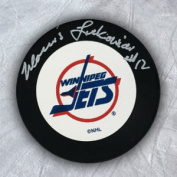 AJ Sports World LUKM121050 MORRIS LUKOWICH Winnipeg Jets Autographed Hockey PUCK