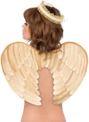 Costumes 194696 Velvet Angel Wings and Halo- Gold Adult