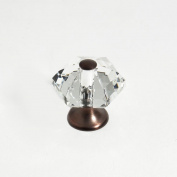 JVJHardware 34212 Pure Elegance 30mm - 1.19 in. - 6 sided 31 Percent Leaded Crystal Knob - Old World Bronze