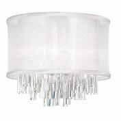 Dainolite JOS144FH-PC-119 4 Light Crystal Flush Mount Fixture with White Organza Drum Shade