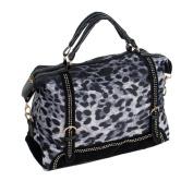 Blancho Bedding KP22501-BLUE Blue Eidolon Leopard Double Handle Satchel Bag Handbag with Shoulder Strap