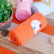 Blancho Bedding TB-BLK013-WHALE-29.5by39.4 White Whale - Orange Embroidered Applique Coral Fleece Baby Throw Blanket