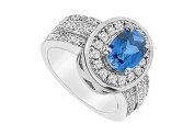 FineJewelryVault UBUK337W10CZS-118 Diffuse Sapphire and Cubic Zirconia Ring : 10K White Gold - 3.50 CT TGW - Size