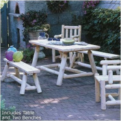 Rustic Natural Cedar Furniture Classic Farmer's Table and Bench Set