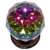 JVJHardware 36412 Pure Elegance 40mm - 1.56 in. - Faceted Ball 31 Percent Leaded Crystal Knob with Prism - Old World Bronze