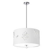 Dainolite RHI-183P-PC-693 3 Light Pendant with White Baroness Drum Shade and Crystal Accents - Polished Chrome