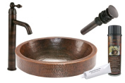 Premier Copper Products BSP1_VO18SKDB Oval Skirted Vessel Hammered Copper Sink with Single Handle Vessel Faucet, Oil Rubbed Bronze
