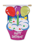Evergreen Enterprises 16626 Garden Size Applique Flag - Happy Birthday