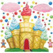 Instant Murals IMD-600 Cotton Candy Land Castle & Clouds