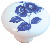Ultra 1-.50in. Round White Porcelain With Blue Wildflower Designers Edge Cabinet