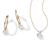 PalmBeach Jewelry 35664 2.60 TCW Princess-Cut Cubic Zirconia 10k Yellow Gold 2-Piece Necklace and Drop Earrings Set