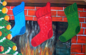 Custom Printed Rugs Seasonal Holiday Christmas Stockings Doormat