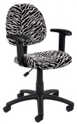 Boss B326-Zb Zebra Print Microfiber Deluxe Posture Chair With Adjustable Arms.