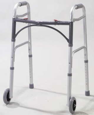 Complete Medical 1075C Easy-Release 2 Button Walker Adult with 5 Wheels.