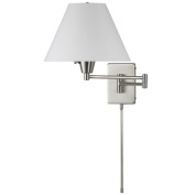 Dainolite DMWL800-SC 3-Light Wall Lamp Swing Arm with Shade - Satin Chrome