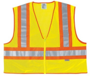 River City 611-WCCL2LL Fluorescent Line Safetyvest W- Orng-Sil Stripes