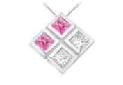 FineJewelryVault UBPD2521W14DPS-101 Pink Sapphire and Diamond Pendant : 14K White Gold - 1.00 CT TGW
