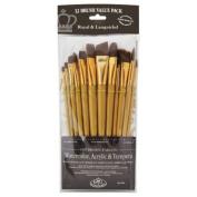 12 Pc Royal & Langnickel Brown Taklon Flat Brush Set