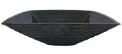 Novatto TIS-286GRY CROCCANTE Grey Square Frosted Glass Vessel Sink 18.25 Inches Wide Black
