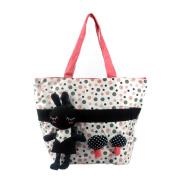 Blancho Bedding K104-RED Rabbit and Mushrooms Canvas Shoulder Tote Bag / Shopper Bag