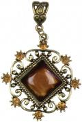 Cousin 150054 Jewellery Basics Metal Pendant 1-Pkg-Antique Gold Diamond With Cabochon