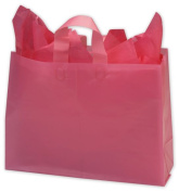 Bags & Bows by Deluxe 268-160612-19 Cerise Frosted High Density Shoppers - Case of 250