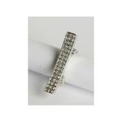 Zirconmania 610R-15008R Silvertone Pave Clear Crystal Elongated Bar Stretch Ring