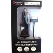 Professional Cable iCharge Car Charger for iPod/iPhone Black 3ft Clamshell 3ft