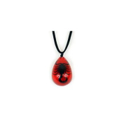 Ed Speldy East NEK211 Leather Necklace - Black Scopion with Red Background