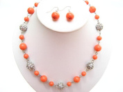 Alur Jewelry 18656CR 18 in. Pearl and Crystal Ball Necklace and Earring set in Coral